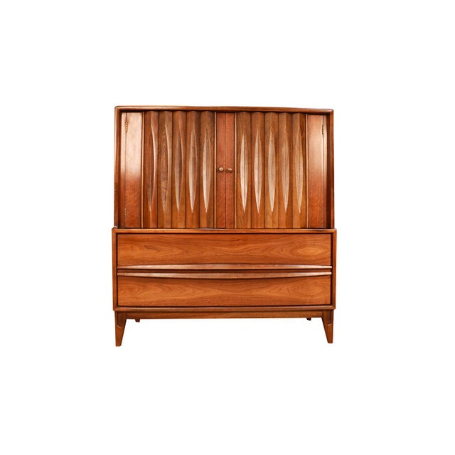Walnut Mid Century High Boy Gentleman's Chest Dresser Louvered Front For Sale - Image 7 of 11