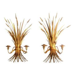 Hollywood Regency Mid-Century Git Metal Wheat Sheaf Sconces - a Pair