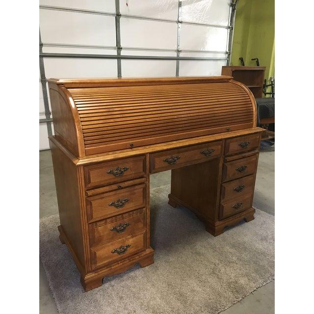 Vintage Traditional Oak Roll Top Desk For Sale - Image 10 of 10