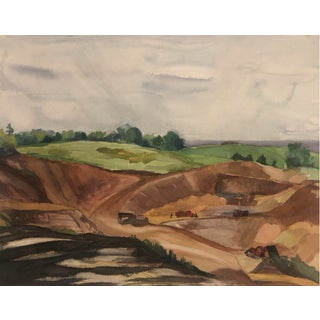 Landscape With Construction Equipment 1940s For Sale