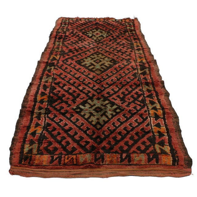 Boho Chic MCM Berber Moroccan Runner, 3'6x9'2 For Sale - Image 3 of 3