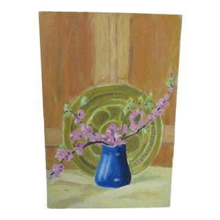 Vintage Still Life Acrylic Painting of a Blue Vase of Cherry Blossoms For Sale