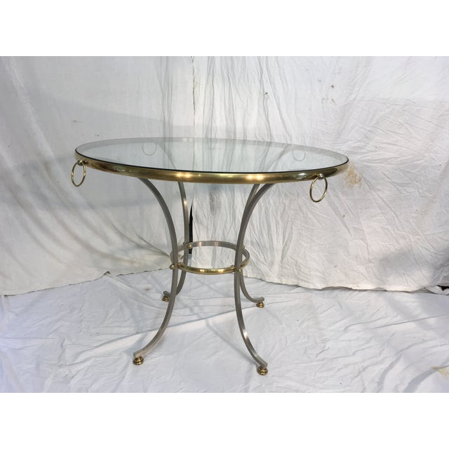 Jansen Style Steel & Brass Table For Sale - Image 9 of 9