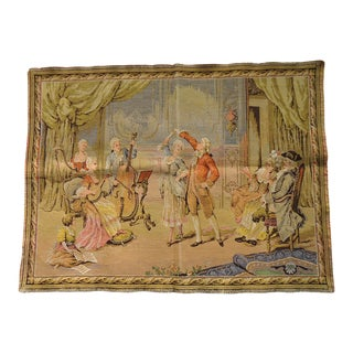 Vintage French Tapestry Musical Court Scene