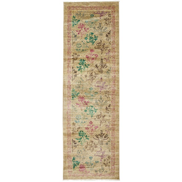 """Hand Knotted Beige Floral Wool Runner Rug - 2' 6"""" X 8' 10"""" For Sale - Image 4 of 4"""