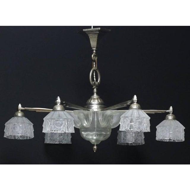 Art Deco Verrerie Des Hanots Art Deco Chandelier For Sale - Image 3 of 5