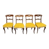 Image of Yellow Velvet Upholstered Oak Dining Chairs - Set of 4 For Sale