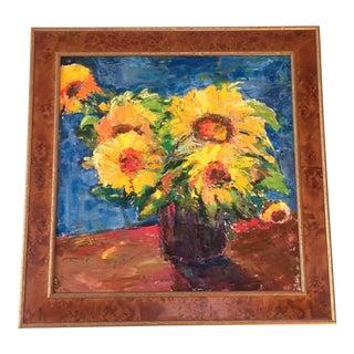 Floral Still Life in Burl Wood Frame
