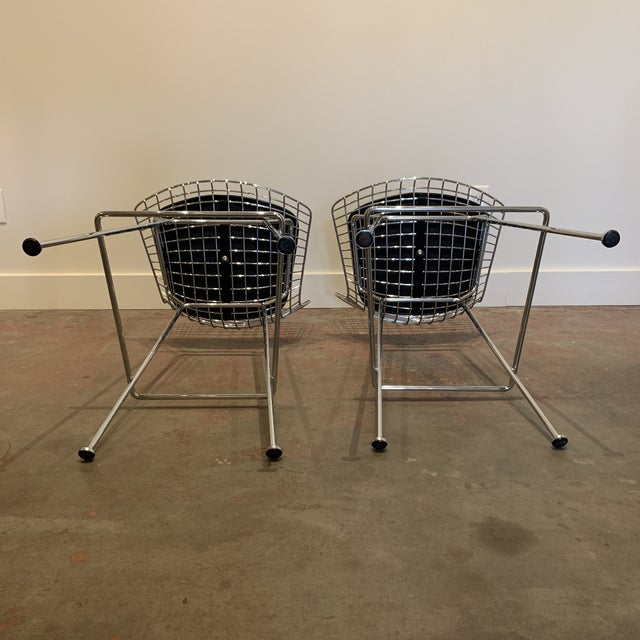 Knoll Chrome Bertoia Barstools by Knoll With Black Leather Seat Cushions - a Pair For Sale - Image 4 of 6