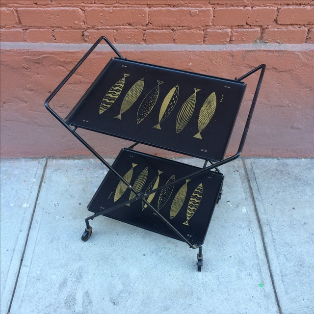 Fred Press Folding Bar Cart with Fish - Image 3 of 8