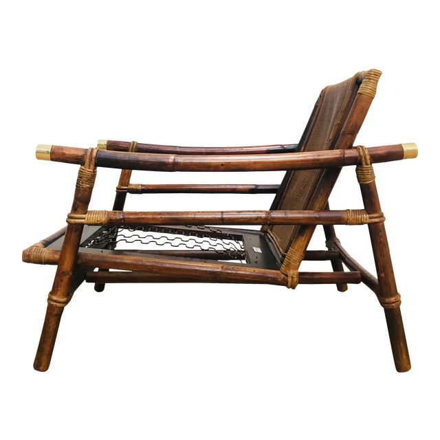 Authentic Signed Ficks Reed Rattan Campaign Chair- 1954 For Sale