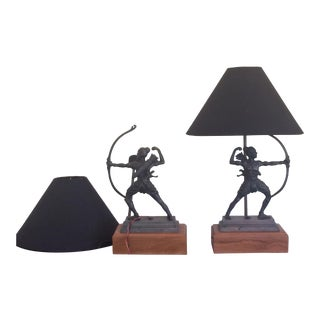 1990s Southwestern Bronze Finish Sculpture Lamps - a Pair