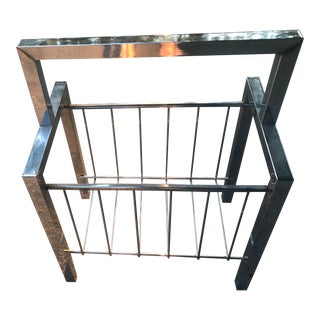 Milo Baughman Mid Century Chrome Magazine Rack For Sale