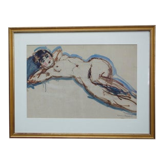 """Maurice Henri Hensel """"Female Nude"""" Watercolor Painting on Board Circa 1940's For Sale"""
