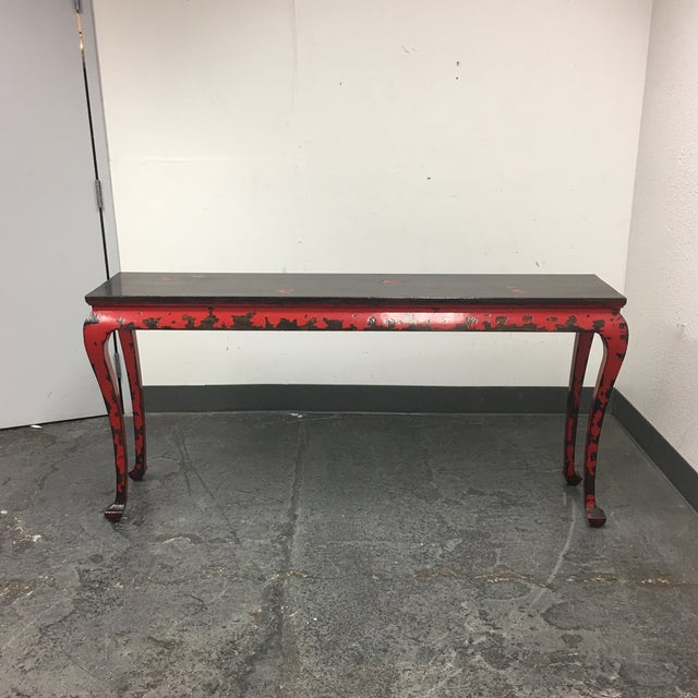 Gumps of San Francisco Asian Console Table with Red Antiqued Finish - Image 2 of 9