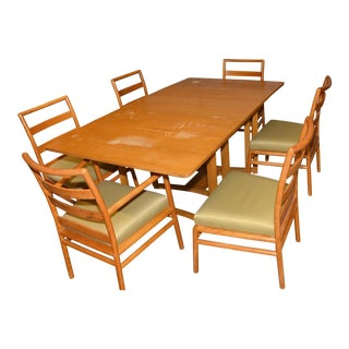 Dining Set With 6 Chairs by T.H. Robsjohn-Gibbings for Widdicomb For Sale