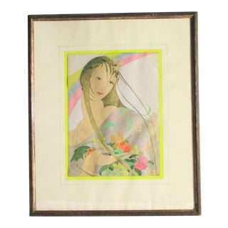 1930s Vintage Girl With Flowers Framed Drawing For Sale