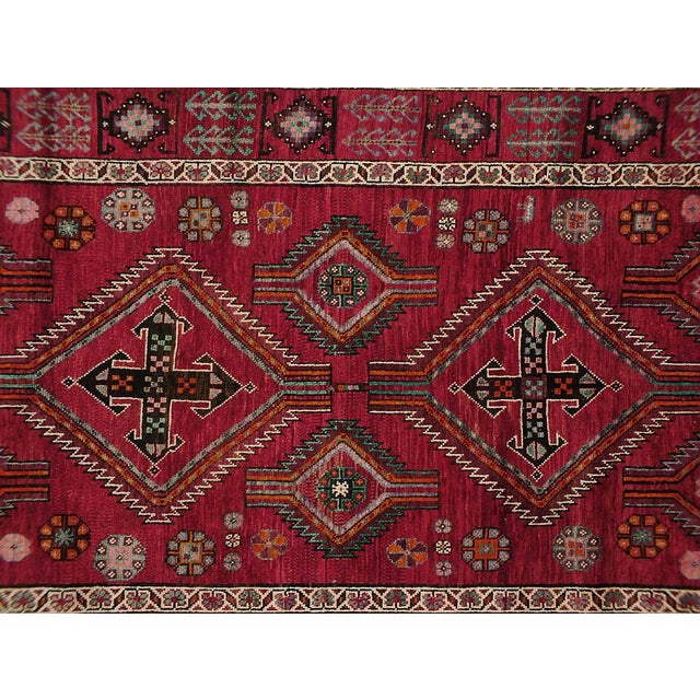 Vintage Persian rug featuring a beautiful geometric design. 100% handmade, wool pile. Excellent condition, ready to be...