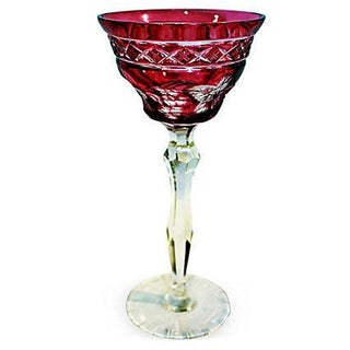 Red Cut-To-Clear Bohemian Crystal Wine Goblet For Sale