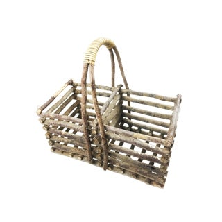 Mid-Century Hand Made Frontier Style Wood Basket For Sale