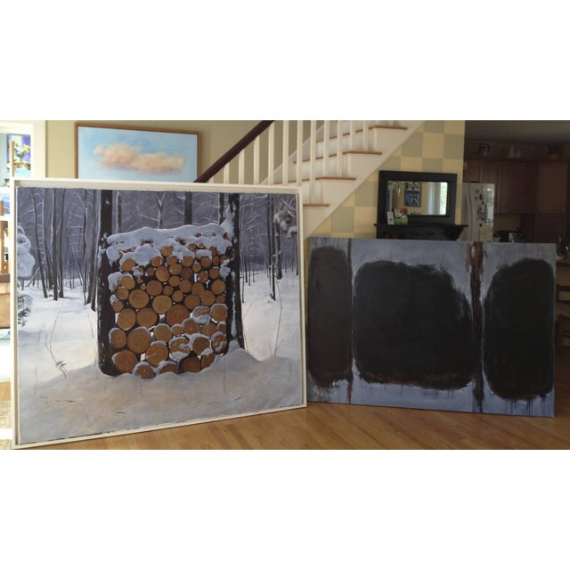 Landscape Painting of a Wood Pile in Snow - Image 7 of 7