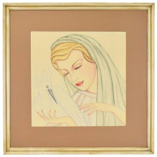 Art Deco Portrait Watercolor Painting Woman With Cockatiel Bird For Sale