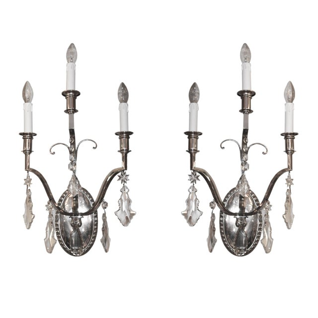 French Crystal Wall Lights - A Pair For Sale - Image 4 of 4