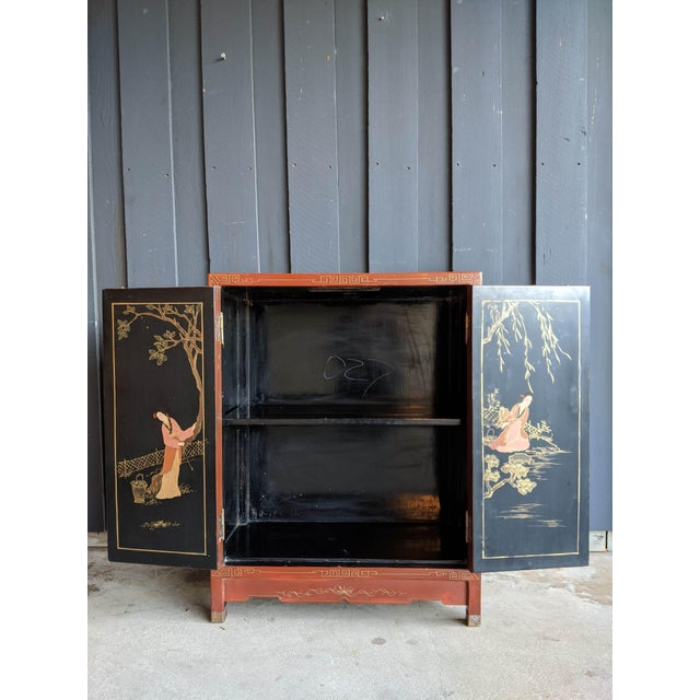 Asian 1960s Hand-Painted Chinoiserie Cabinet / Night Stand For Sale - Image 3 of 13