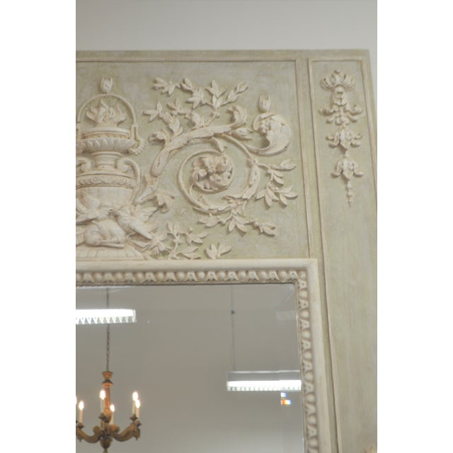 Louis XV style painted trumeau, painted over solid wood, in a lovely shade of light green in certain light is looks light...