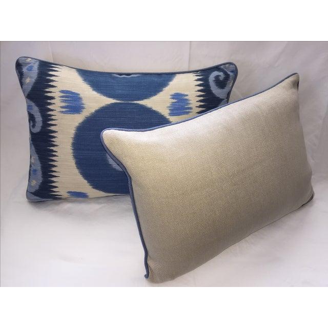 Emil Blue Ikat Pillows - A Pair - Image 4 of 4
