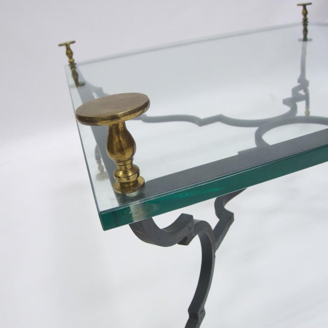 Art Deco Heavy French Decorative Coffee Table Attributed to Gilbert Poillerat For Sale - Image 3 of 6
