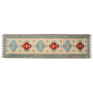 Hand-Knotted Turkish Runner Rug. Oushak Petite Runner 2′7″ × 9′6″ For Sale
