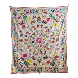 1960s Vintage Handmade Indian Wedding Tapestry For Sale