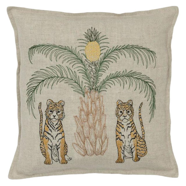Tigers With Pineapple Palm Tree Pillow For Sale