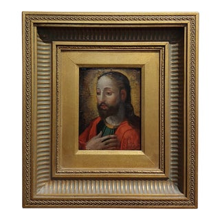 19th Century Portrait of Jesus -Spanish Colonial-Oil Painting C1860s For Sale