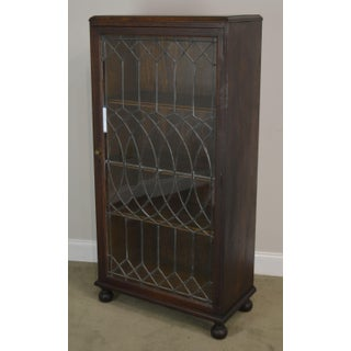 Antique Oak Arts & Crafts Style Leaded Glass Door Bookcase Preview