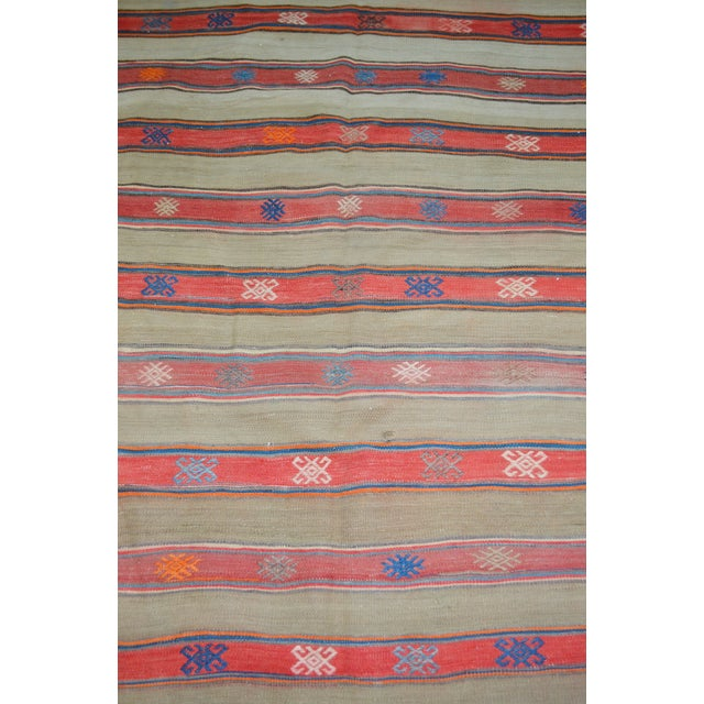 "Shabby Chic VintageTurkish Anatolian Hand Made Organic Wool Dowry Kilim,5'5""x7'5"" For Sale - Image 3 of 5"