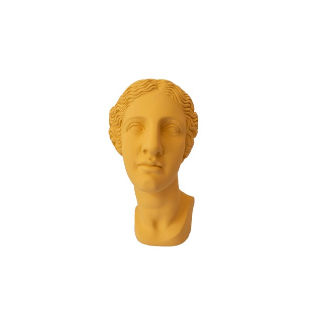 Modern Greek Bust Yellow Plaster Vase For Sale - Image 3 of 4