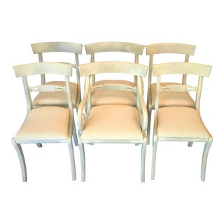 1940s Gustavian Ivory Klismos Dining Chairs - Set of 6