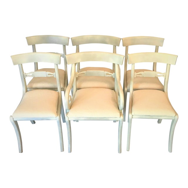 1940s Gustavian Ivory Klismos Dining Chairs - Set of 6 For Sale