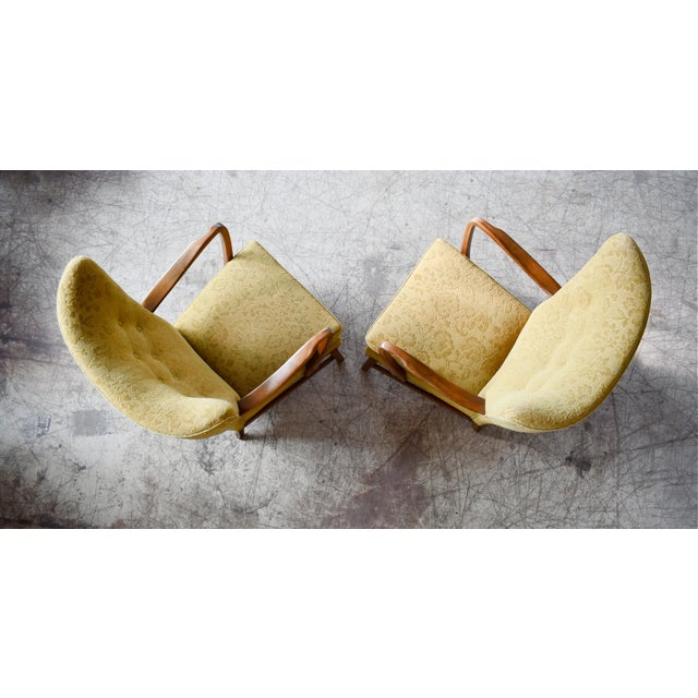 Brown Danish 1940s Midcentury Fritz Hansen Style High Back Lounge Chairs - a Pair For Sale - Image 8 of 9