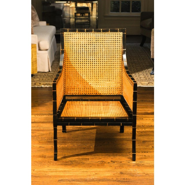 Beautiful Restored Pair of Large-Scale Double-Sided Cane Club Chairs For Sale In Atlanta - Image 6 of 9