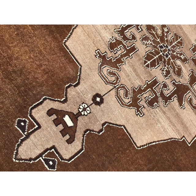 Mid-Century Modern Brown Turkish Area Rug For Sale - Image 3 of 9