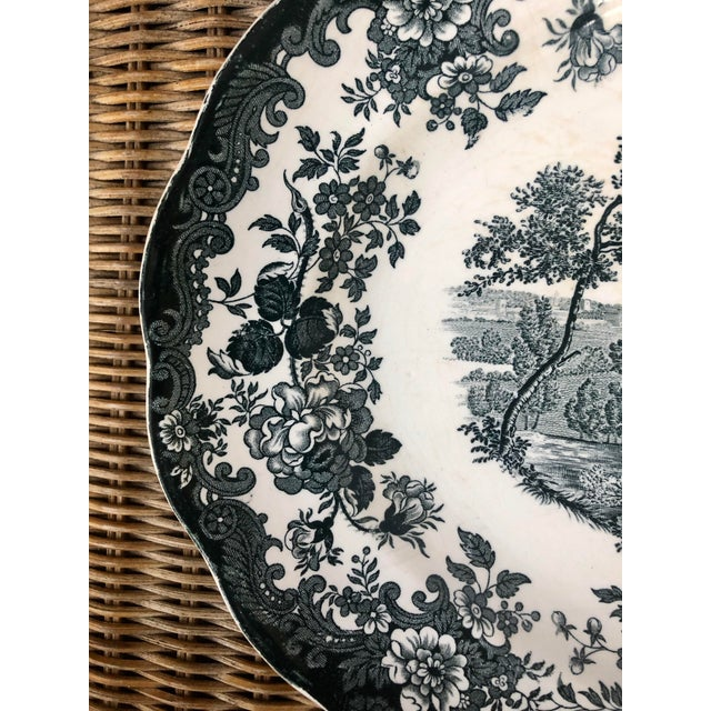 """A RARE green vintage """"Palissy 1790 Avon Scenes"""" hand engraved extra large serving platter. This color and size is rare,..."""