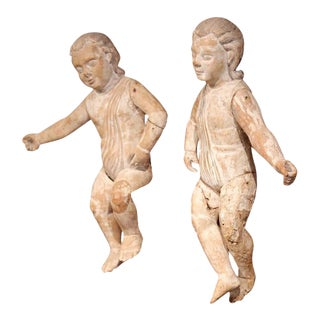 Mid-18th Century Italian Hand-Carved White Wash Cherubs - a Pair For Sale