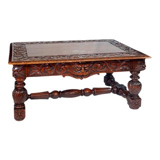 19th Century Carved Oak Table with Grotesque Faces For Sale
