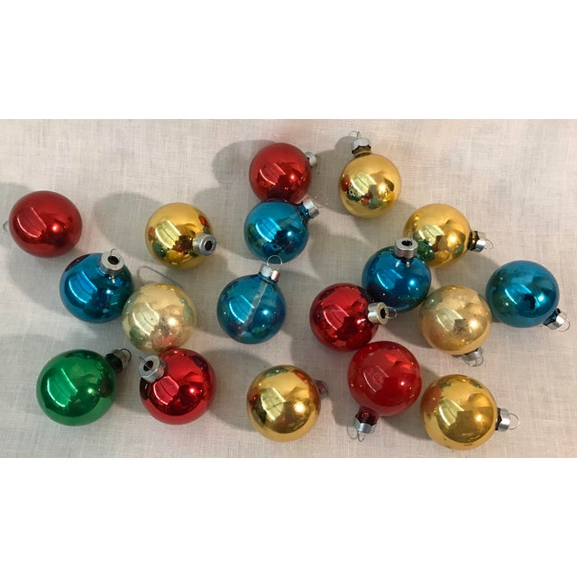 another set of vintage glass holiday ornaments in multi colors red gold - Vintage Glass Christmas Ornaments