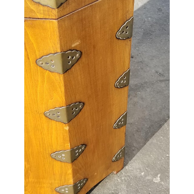 1930s Vintage Oriental Asian Hat Box Storage Box /Stool Made in Korea 1938 For Sale - Image 5 of 13