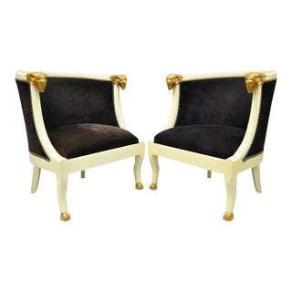 Ram's Head Regency Neoclassical Style Barrel Back Chairs With Hoof Feet - a Pair For Sale