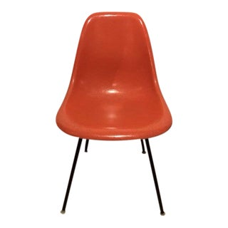 Eames Herman Miller Mid-Century Modern Orange Fiberglass Dowel Shell Chair For Sale